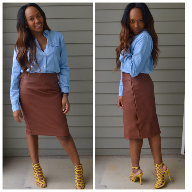 LEATHER SKIRTS AND DENIM SHIRTS