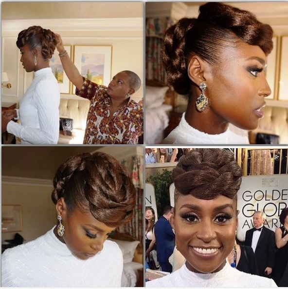 Issa Rae's hair at Golden Globes